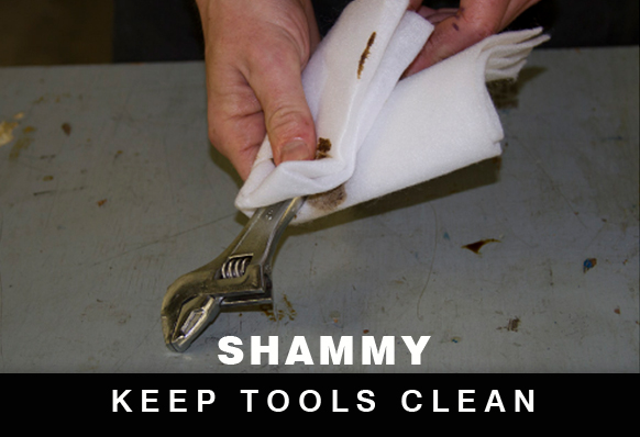 shammy cleans tools